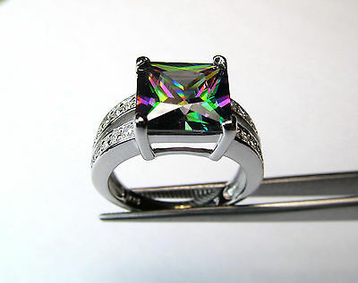 Wholesale 10 Pcs Square Rainbow Cz Accent Rings In Sterling Silver Lot