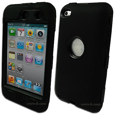 Black Heavy Duty Cover Case for Apple iPod Touch 4 4th Gen Tradesman Tough
