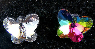 10 x FACETED~GLASS ~BUTTERFLY~SILVER PLATED~PENDANT / CHARMS, 15 x 12 MM