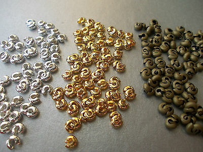 SILVER, BRONZE OR GOLD COLOUR ROUND CRIMP BEADS COVERS,CHOOSE AMOUNT (f20)