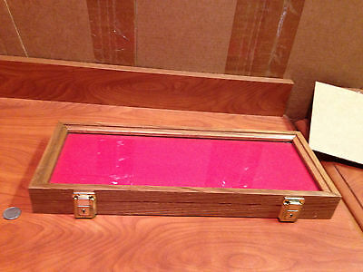 W1-40 Rare Wooden Oak Red Cloth Knife Knives Case!