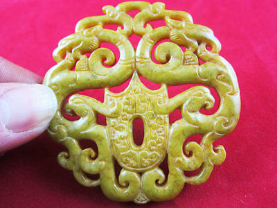 0315 Chinese hongshan style Jade topaz carving double-sided dragon pendant 42g