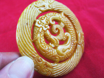 0316 Chinese hongshan style Jade topaz carving double-sided dragon pendant 50g