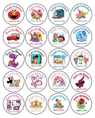"""20 ROUND Personalized BIRTHDAY PARTY 2"""" LABELS - Dora, Jake,Thomas & more!"""