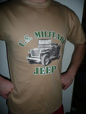 T  SHIRT beige US MILITARY JEEP  tailles S M L XL XXL ( MB MA  WILLYS FORD tee