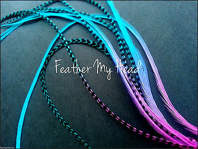 """Tie Dye Fade Feather Extensions Grizzly Rooster Feathers In Bright Colors 7""""-9"""""""