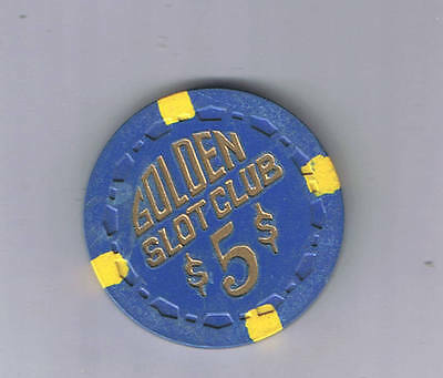 Golden Slot Club Small Crown $5.00 Casino Chip Las Vegas Nevada 1955