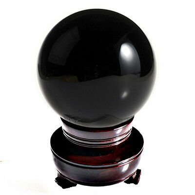 "Black (Jet Black) Crystal Ball 150mm 6"" Include Wooden Stand and Gift Package"