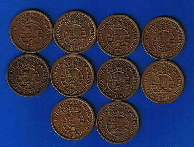 MOZAMBIQUE PORTUGAL # MEGA LOT OF 10 COINS # 20 CENTAVOS 1950 KM# 79 HIGH GRADE