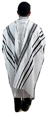"Kosher Tallit Talis Prayer Shawl acrylic 55""X74"" Made Israel Black&silver Stripe"