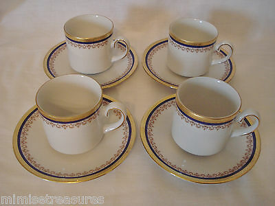 Tirschenreuth Cobalt Blue & Gold 4 Demitasse Cups Saucers Set Germany China Gilt