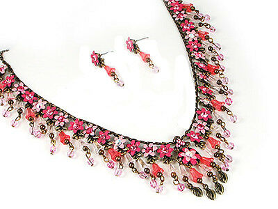3v Vintage Rose Pink Flower Swarovski Elements Crystal Floral Necklace Set