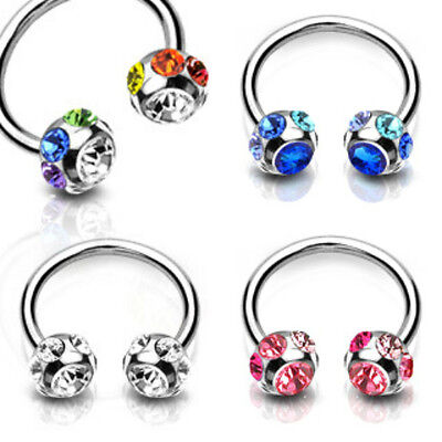 Single 316L Surgical Steel Circular Horseshoes 7-Gem Paved 6mm Ball