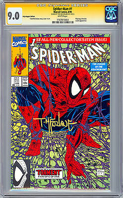 Spider-Man #1 Cgc-Ss 9.0 *green Poly Bag Variant Signed Todd Mcfarlane* 1990