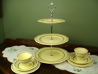 Art Deco Woods Ivory Ware Tea For Two 3 Tier Cakeplate + 2 Trios