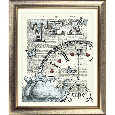 ART PRINT ON ORIGINAL ANTIQUE DICTIONARY BOOK PAGE Tea Butterfly Hearts Clock