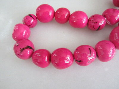 Polished Pink Tagua Nut Wood Beads 18mm to 20mm Round 10p