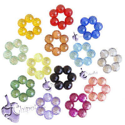 5 PERLE FIORE fiori ACRILICO colori misti 26x27x9 mm mixed flower acrylic beads