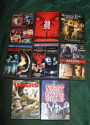 HORROR MOVIES SET OF 8 - TOTAL OF 16 MOVIES - DVDS WITH CASES