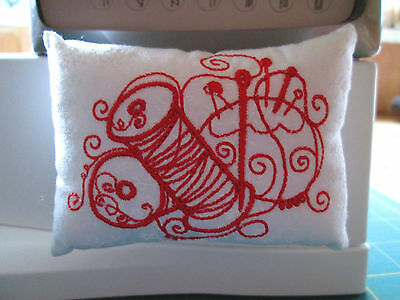 Hand Crafted - Craft Themed Embroidered Pin Cushion - Attach to Machine