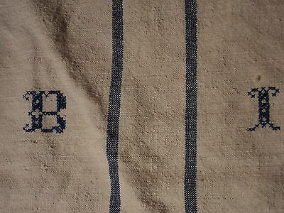 Antique European Feed Sack GRAIN SACK BI Monogram #3760