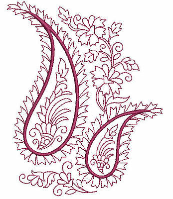 Paisley Redwork Quilt Blocks Machine Embroidery Designs CD 5x7 Brother, Janome