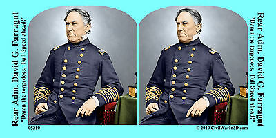 Admiral David Farragut Civil War SV Stereoview Stereocard 3D 05210