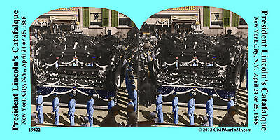 Lincoln's Funeral Procession Civil War SV Stereoview Stereocard 3D 19422