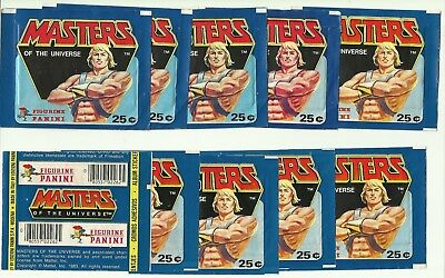 1983 PANINI Masters of the Universe 10 EMPTY Packets WRAPPERS He Man MOTU