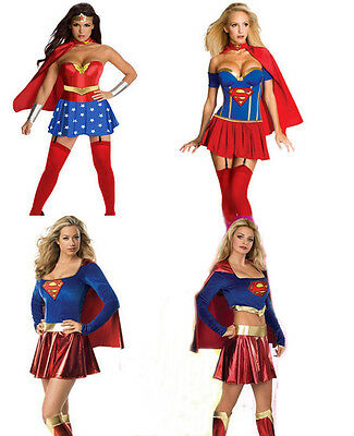 4 Style Supergirl Costume Super Hero Ladies Fancy Mini Dress Halloween Party set