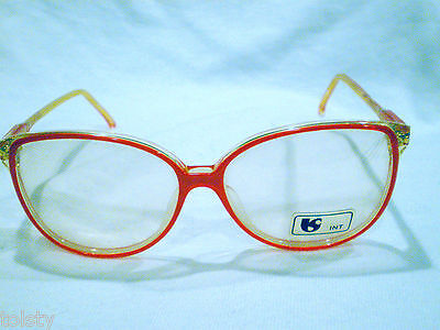 Vintage Astor  Eyeglasses Mod.malibu Hot Red Clear 53-17-140 Made In Italy