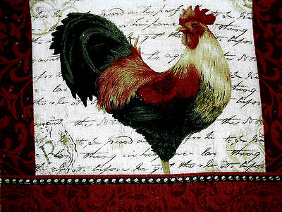 New Kitchen Dish Towels W Crochet Tops  #t228 Rooster
