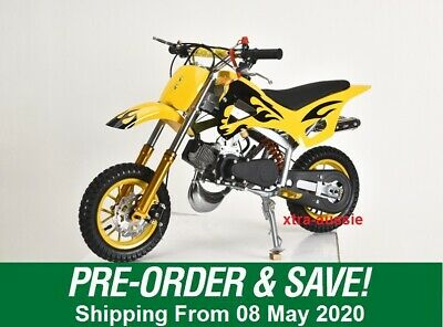 Yellow 49Cc Mini Motor Dirt Bike Kids Pocket Rocket Pee Wee Motorcycle Atv 50Cc