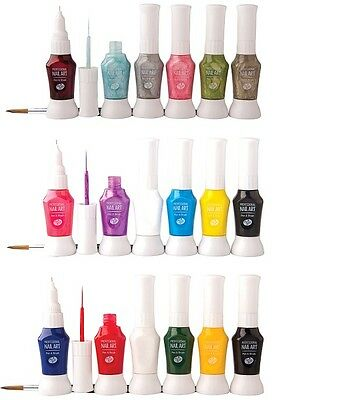 Rio  2-Way Nail Art Polish Varnish Paint Pens & Brush Kit Set - Choice Of Sets