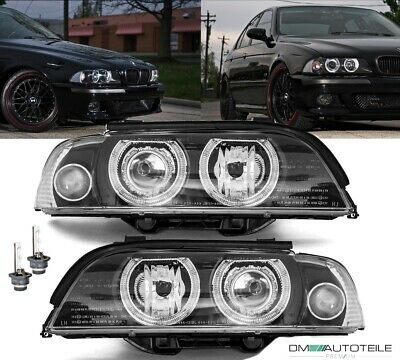 BMW E39 Angel Eyes Xenon Scheinwerfer Set Schwarz D2S Facelift +Philips Brenner