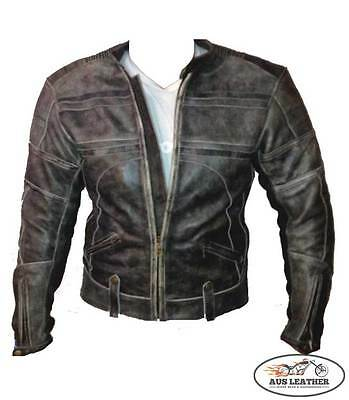 Mens leather jacket motorcycle jacket motorbike'RETRO'  vintage fashion jacket