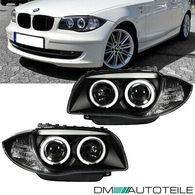 2x BMW 1er E81 E87 E82 E88 CCFL LED Angel Eyes Scheinwerfer SET Schwarz 04-11