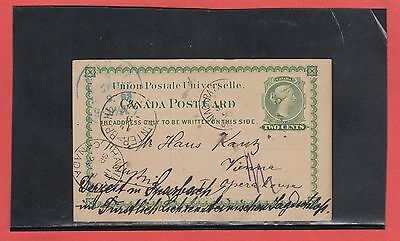 UX4 Canada to AUSTRIA UPU post card 1893 redirected many handstamps and receiver