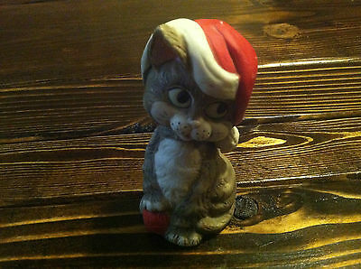 VINTAGE BISQUE CRITTER FIGURINE BELL MADE BY JASCO TAIWAN KITTY CAT SANTA HAT
