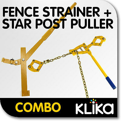 COMBO STAR PICKET REMOVER and WIRE FENCE STRAINER POLE PULLER POST LIFTER REPAIR