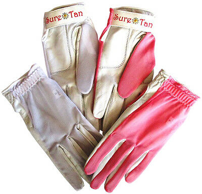 4 Cabretta Leather Golf Gloves Sure Tan Mesh Back Sun Ladies Small Medium Lge
