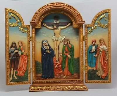 """Crucifixion Triptych Jesus Died In The Cross Virgin Mary Figurine Statue 10""""h"""