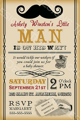 Mustache bash party baby shower invitations boy custom personalized birthday