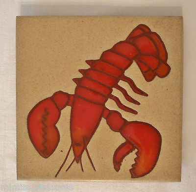"Besheer Art Pottery Lobster Tile Trivet Hanging Hudson NH USA 6"" Red Tan"