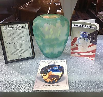 Green Kelsey Pilgrim Cameo Art Glass 4 Layer Vase Limited Edition Top of Line