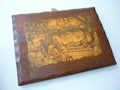 Vintage Anton Pieck Art - Mounted Lacquered  Wood - Tavern Scene Pub Restaurant