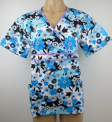 Medical Scrubs- Printed Wrap Top/ Uniform. Nurse/ Vet/ Dental- BN Choose Size