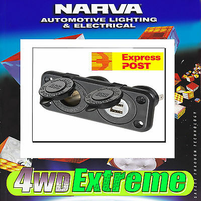 Narva Heavy Duty Accessory Twin Usb Socket Ipad Iphone Boat Cig Marine 81144Bl