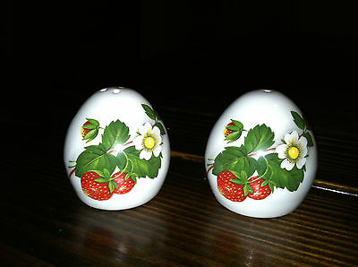 Rare Sandford Bone China Egg Shaped Salt & Pepper Shakers Strawberry & Flowers