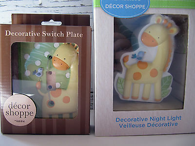 Kidsline    Giraffe  Jungle   Switch Plate And Night Light   New In Package